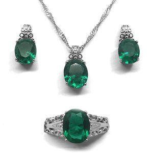 Women's Esmerald Green Crystal Necklace, Earrings